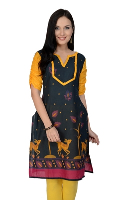 Dark blue printed cotton stitched kurtas-and-kurtis
