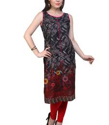 Black woven cotton stitched kurtas-and-kurtis