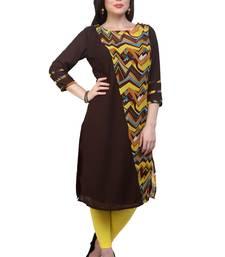 Brown printed georgette stitched kurtas-and-kurtis