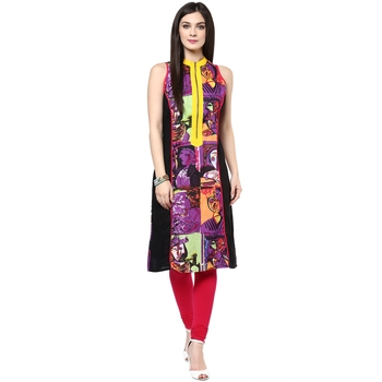 Purple printed cotton stitched kurtas-and-kurtis