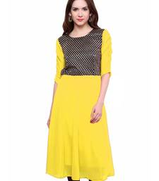 Yellow woven georgette stitched kurtas-and-kurtis