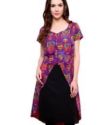 Purple printed cotton stitched kurtas-and-kurtis