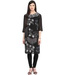 Buy Black printed georgette stitched kurtas-and-kurtis kurtas-and-kurtis online
