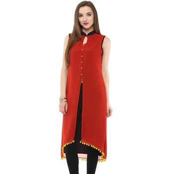 Red plain polyester stitched kurtas-and-kurtis