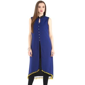 Blue plain polyester stitched kurtas-and-kurtis