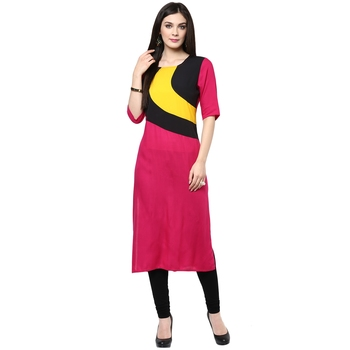 Pink plain rayon stitched kurtas-and-kurtis