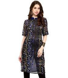 Navy printed georgette stitched kurtas-and-kurtis