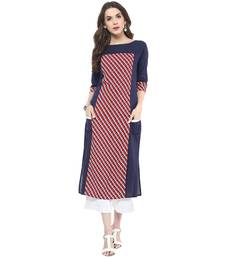 Navy printed cotton stitched kurtas-and-kurtis
