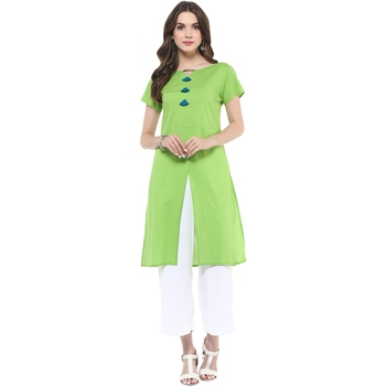 Light green plain cotton stitched kurtas-and-kurtis