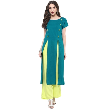 Teal plain cotton stitched kurtas-and-kurtis