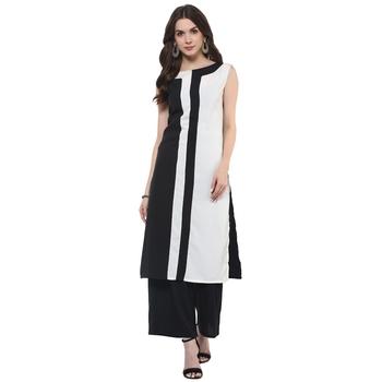 Black plain polyester stitched kurtas-and-kurtis