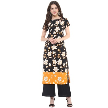 Black printed polyester stitched kurtas-and-kurtis