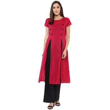 Pink plain cotton stitched kurtas-and-kurtis