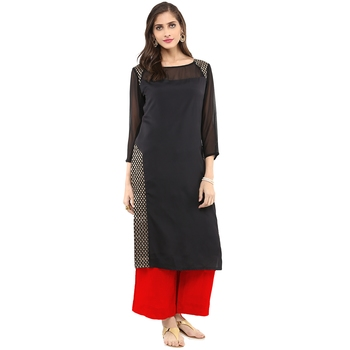 Black woven crepe stitched kurtas-and-kurtis
