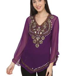purple faux georgette georgette stitched kurti