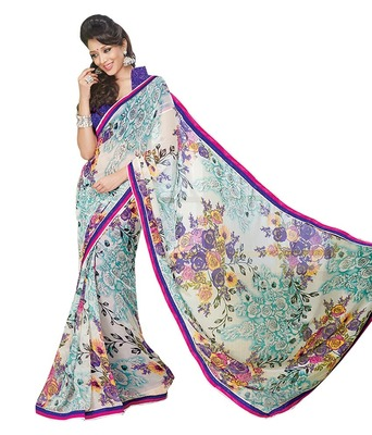 Ethnicbasket Party Wear Georgette Printed SareeWith Blouse