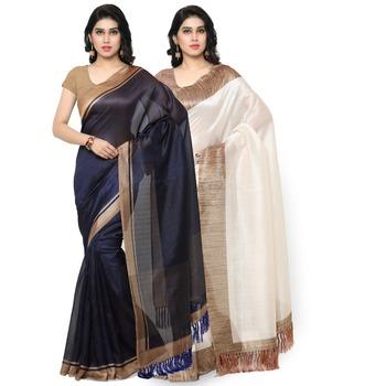Multicolor plain tussar silk saree with blouse
