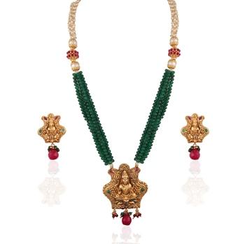 Auspicious gold plated temples necklace set