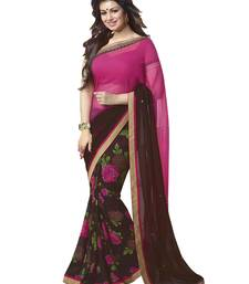 Buy Coffee printed georgette saree with blouse fancy-saree online