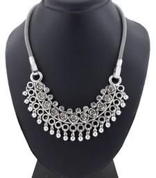 Tribal Bohemian Afghan Choker Statement Grey Crystal Antique Oxidized Silver Long Necklace Chain Girls Women