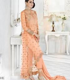 Buy Light orange embroidered georgette salwar with dupatta ethnic-suit online