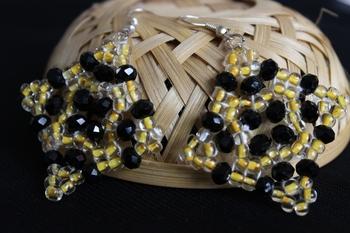 Yellow Rhombus Glass Bead Earrings