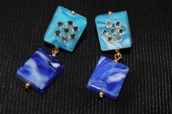 Blue Kundan Stud earrings