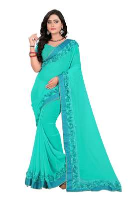 Turquoise Woven Georgette Saree With Blouse