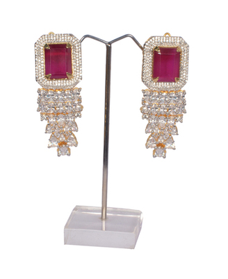 AMERICAN DIAMOND RUBY STONE CLASSIC EARRINGS