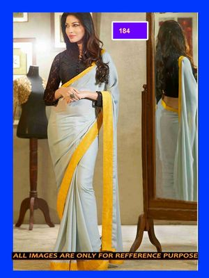 faux georgette saree with dupion blouse