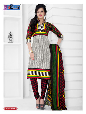 Gray Embroidered Cotton Un-Stitched Printed Salwar Kameez
