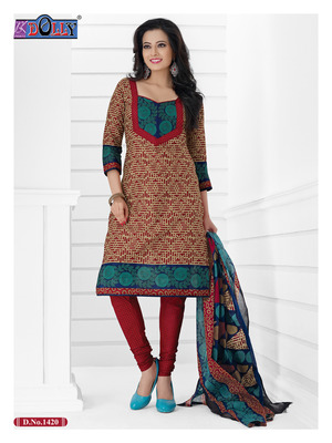 Brown Embroidered Cotton Un-Stitched Printed Salwar Kameez