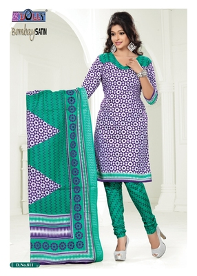 Blue Embroidered Cotton Un-Stitched Printed Salwar Kameez