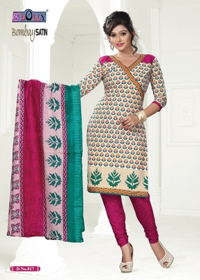 Multi Embroidered Cotton Un-Stitched Printed Salwar Kameez
