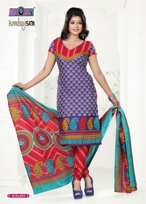 Purple Embroidered Cotton Un-Stitched Printed Salwar Kameez
