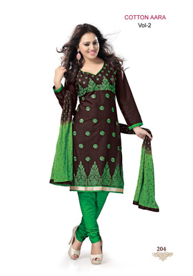 Brown Embroidered Cotton Un-Stitched Printed Salwar Kameez