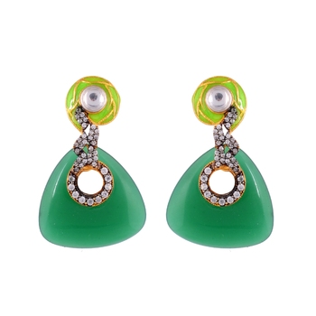 Green Onyx Americian Diamond Fashionable Earring