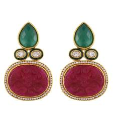 Green Maroon Royal Onyx Stylish Fashionable Earring