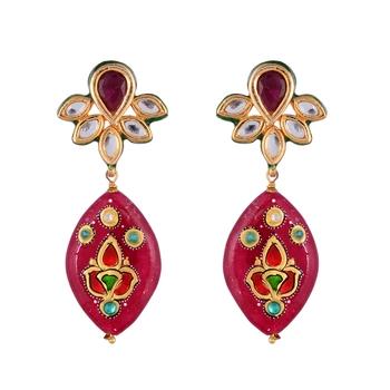 Maroon Kundan Tanjore Art Traditional Earring