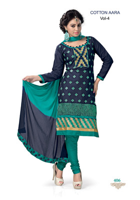 Navy Embroidered Cotton Un-Stitched Printed Salwar Kameez