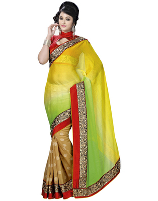 Multi Embroidered Pure Chiffon Saree With  Blouse