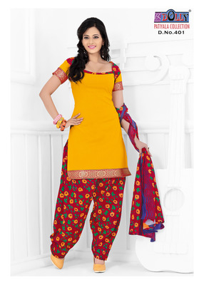 Orange Embroidered Cotton Un-Stitched Printed Salwar Kameez