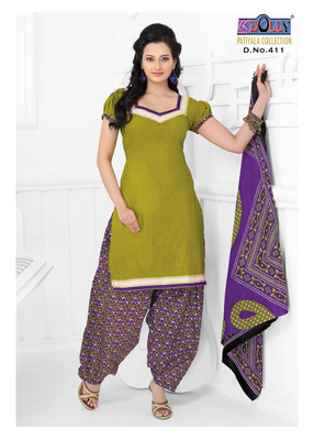 Green Embroidered Cotton Un-Stitched Printed Salwar Kameez
