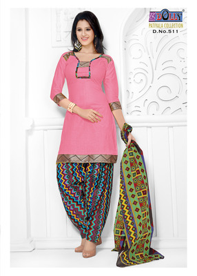 Pink Embroidered Cotton Un-Stitched Printed Salwar Kameez