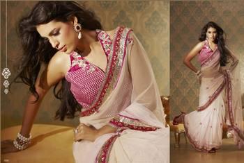 Off-white Georgette Sari