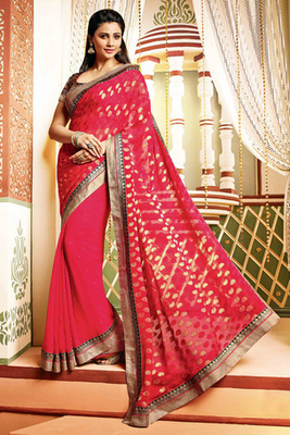 Daisy Shah Attractive Red Georgette Embroidered Saree with Art Silk Blouse Piece