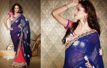 Blue Georgette Sari