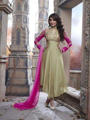 Beige and pink Georgette Semi stitched Anarkali Salwar Suit