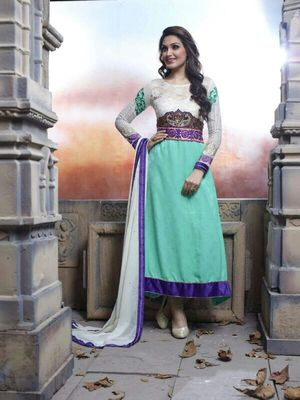 Green and cream colour Semi Stitched Salwar Suit