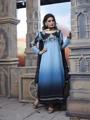 Black and green semi stitched Salwar Suit